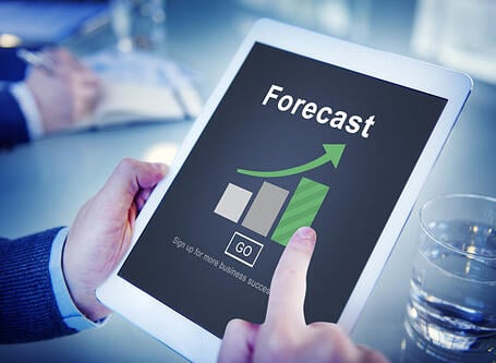 Forecast predictive analytics guy holding ipad