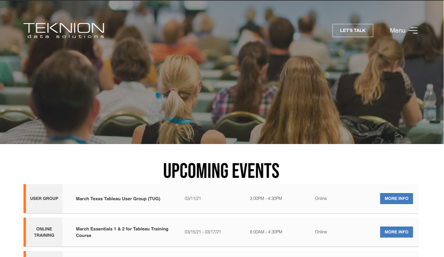 Upcoming Events Page