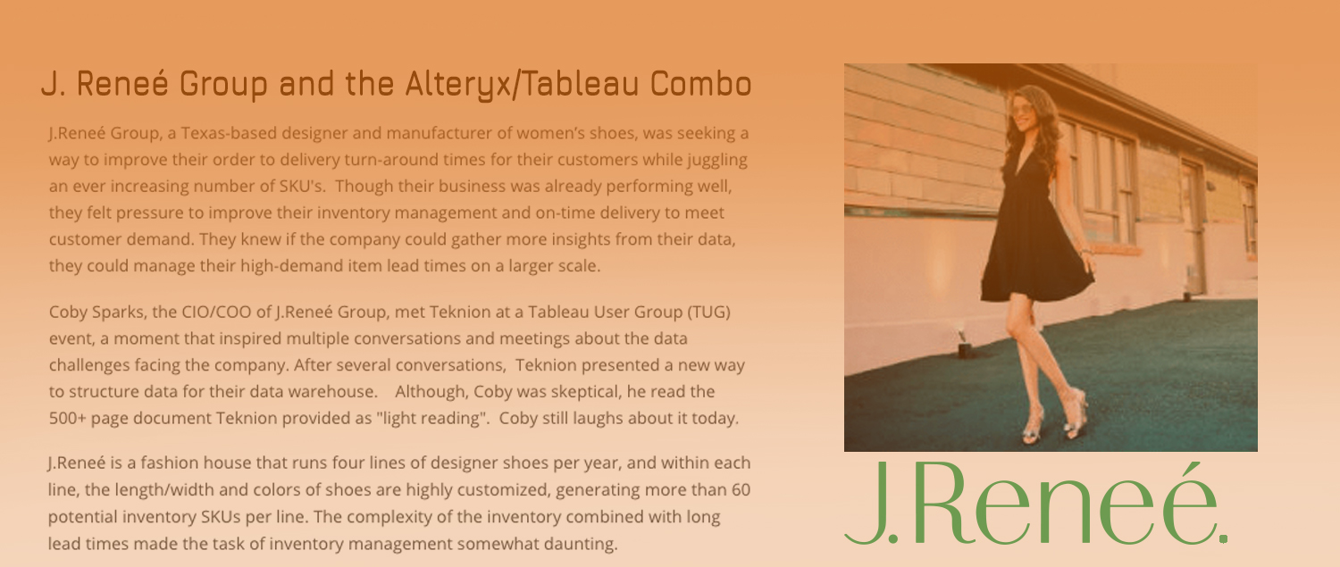 J.Reneé Group and the Alteryx/Tableau Combo